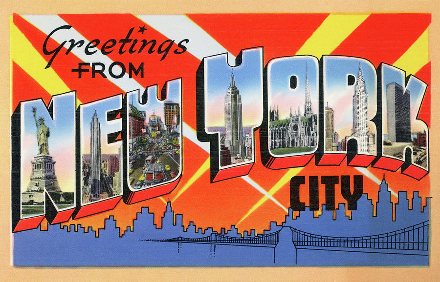 1950s Nyc Tourist Postcard Digital Art by Graphicaartis