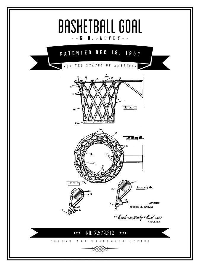 Basketball Digital Art - 1951 Basketball Goal - Black Retro Style by Aged Pixel