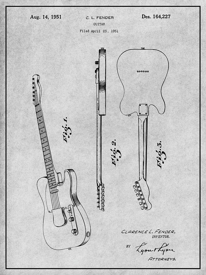 Telecaster Guitar Black Patent Art