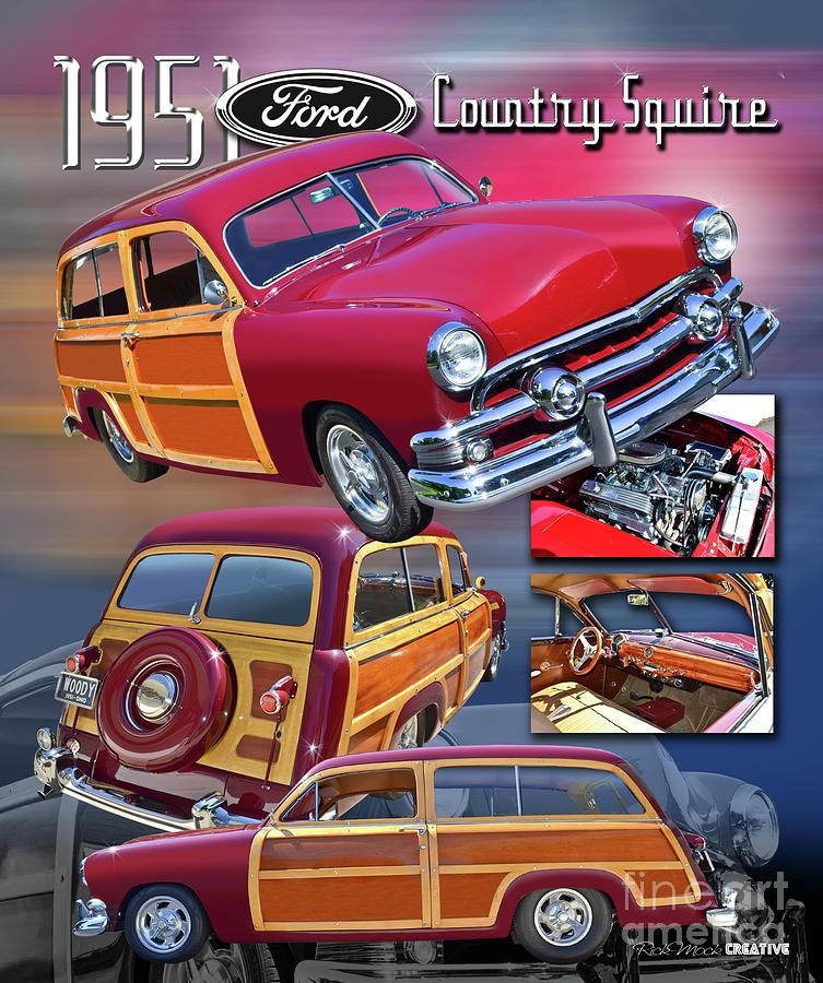 Woody Digital Art - 1951 Ford Woody Wagon by Rick Mock