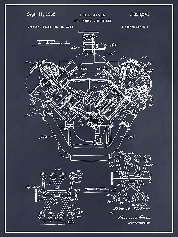 1954 chrysler 426 hemi v8 engine blackboard patent print