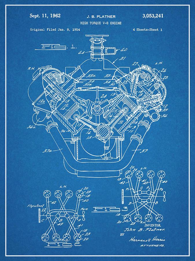 1954 Chrysler 426 Hemi V8 Engine Blueprint Patent Print Drawing By Greg Edwards