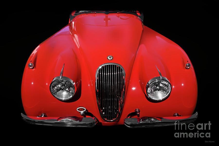 1954 Jaguar Xk120 Roadster In Red Photograph