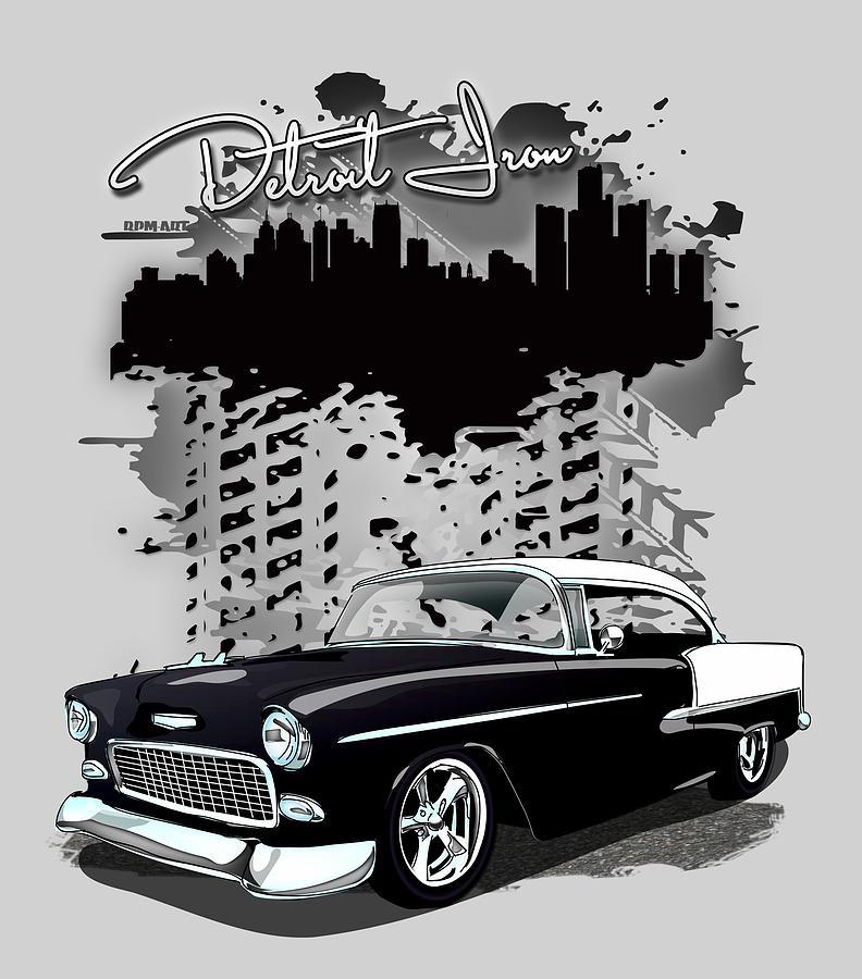 1955 Black White Chevrolet Bel Air Detroit Iron Digital Art By Jim Schuett