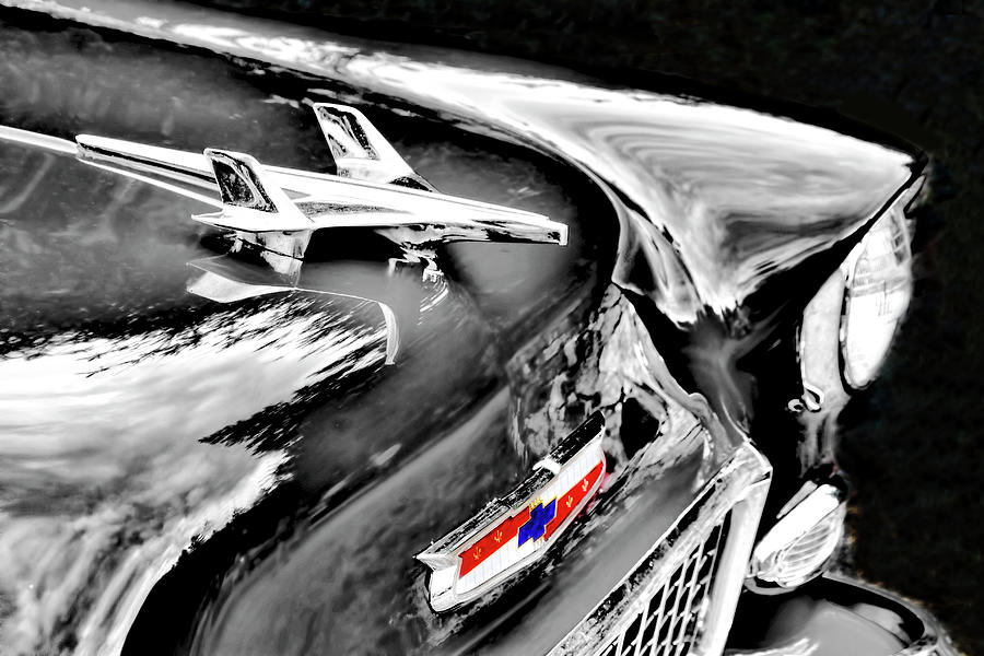 1955 Chevy Bel Air Black and White by Peggy Collins
