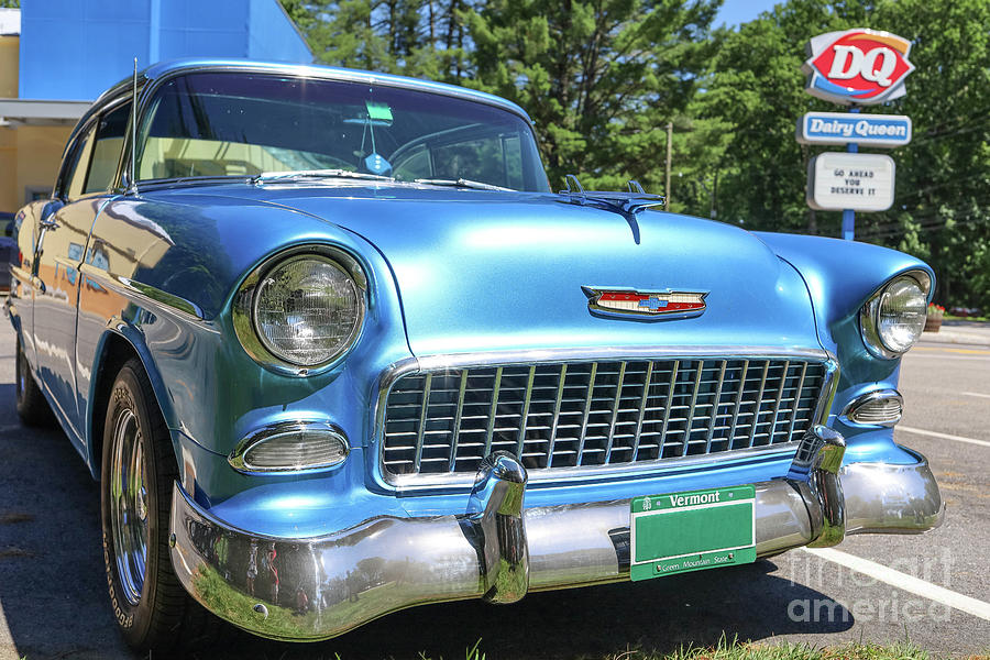 Vermont Photograph - 1955 Chevy Bel Air Blue Dairy Queen by Edward Fielding
