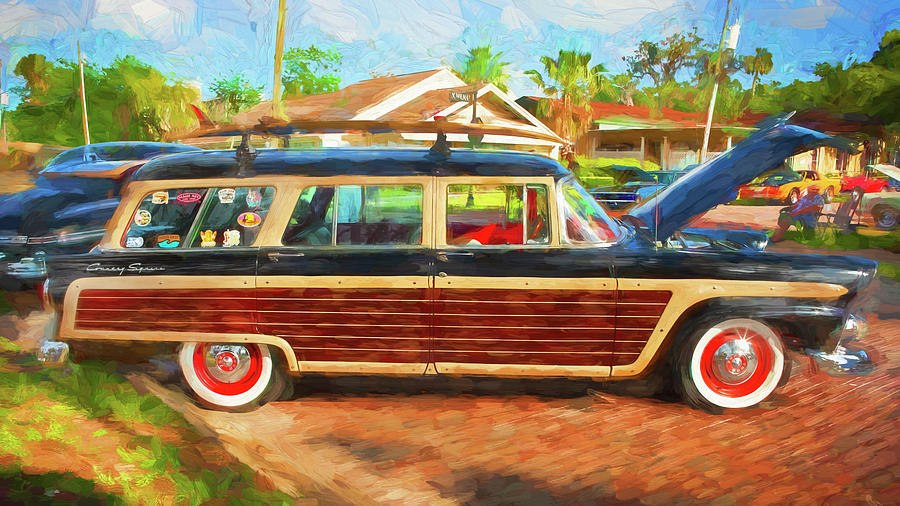 1955 ford country squire station wagon woody 108 by Rich Franco