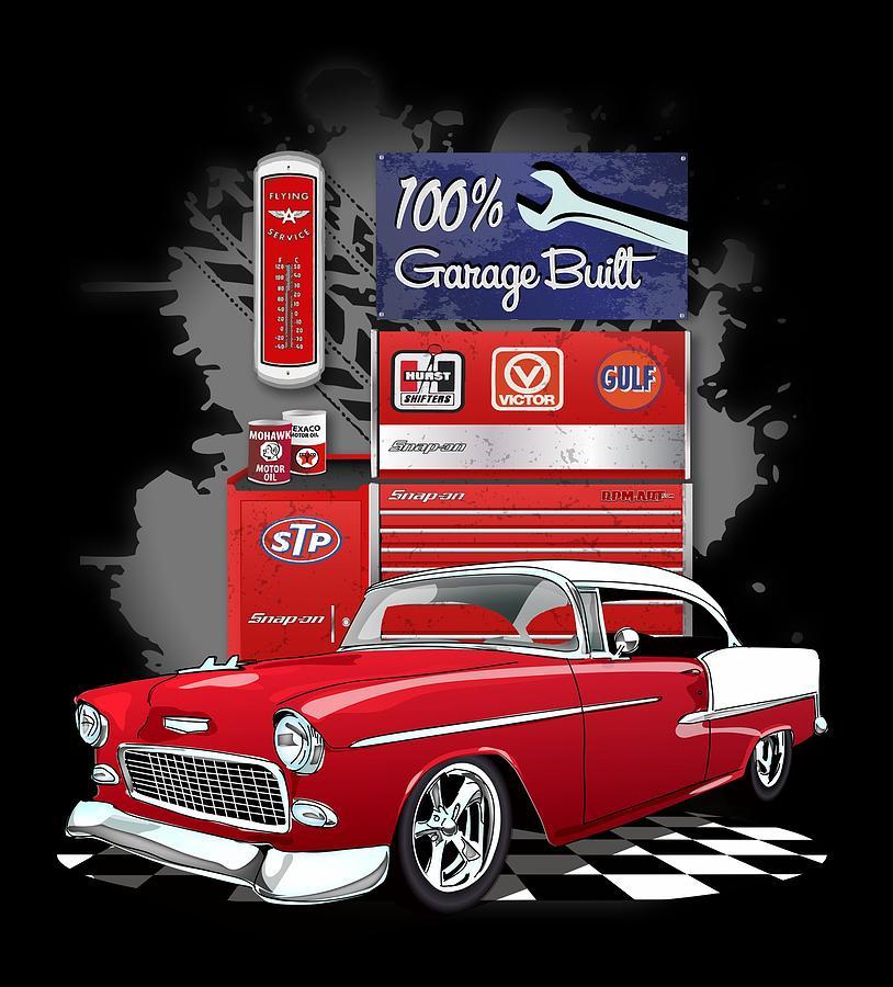 1955 Red White Chevrolet Bel Air Garage Built Digital Art By Jim Schuett