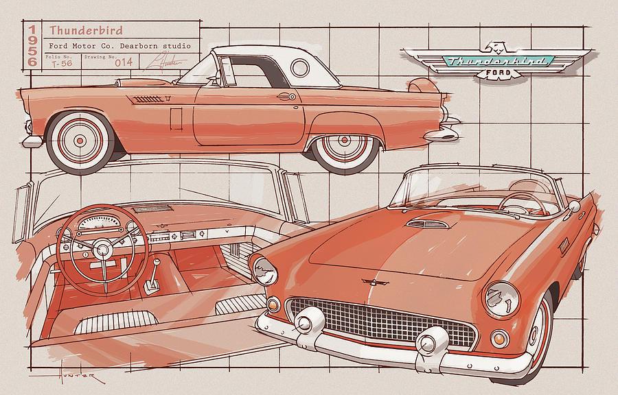 1956 Thunderbird Fiesta Red by Larry Hunter