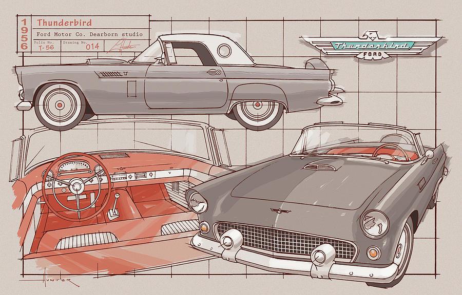 1956 Thunderbird gray by Larry Hunter