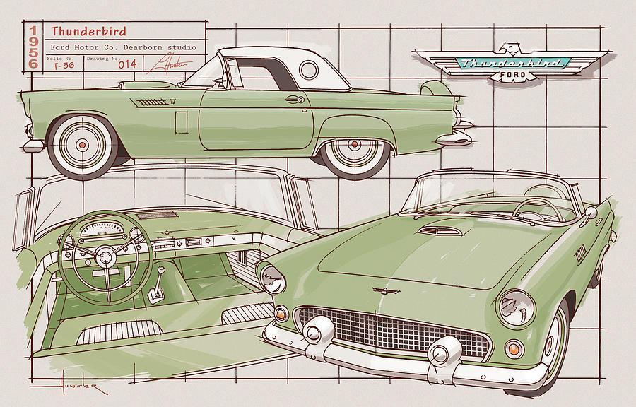 1956 Thunderbird green by Larry Hunter