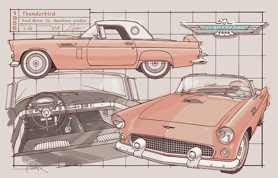 1956 Thunderbird sunset coral by Larry Hunter