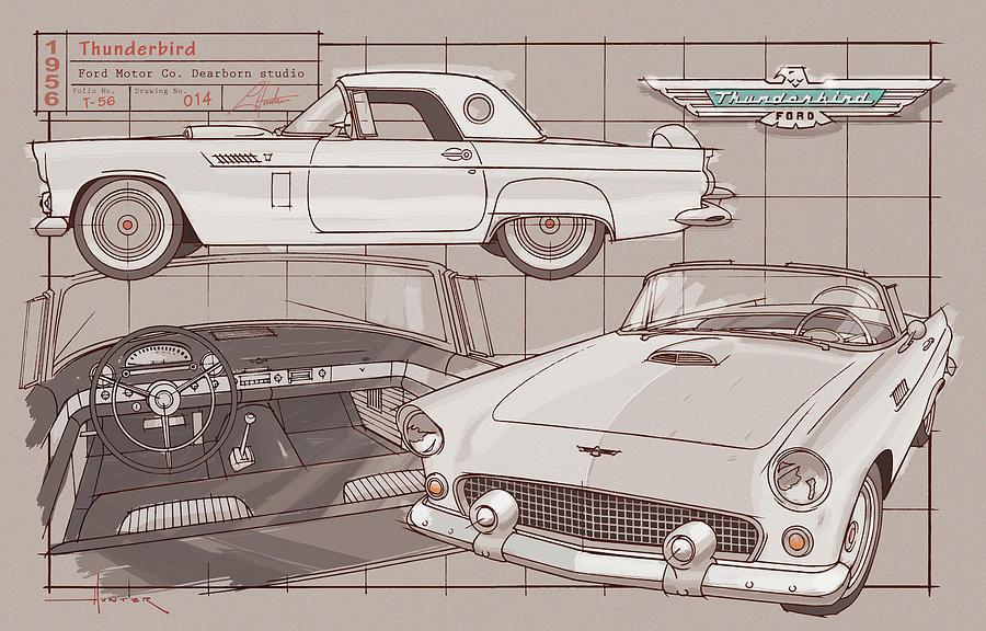 1956 Thunderbird white on black by Larry Hunter