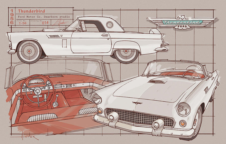 1956 Thunderbird white on red by Larry Hunter