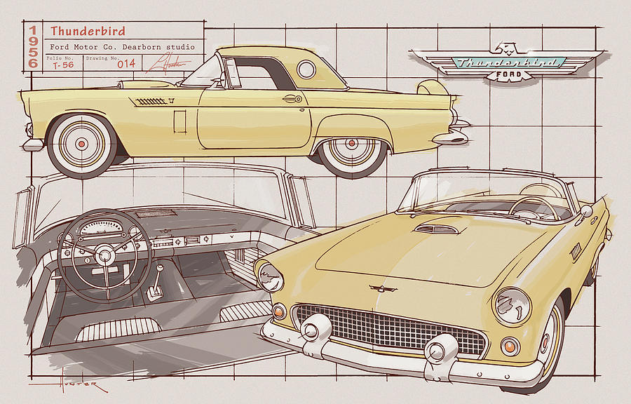 1956 Thunderbird Yellow by Larry Hunter