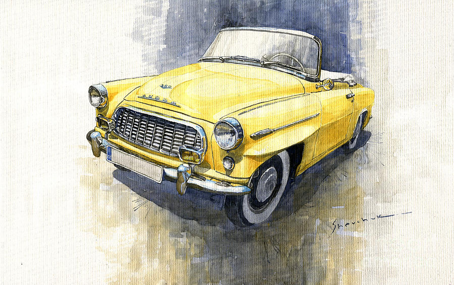 Watercolor Painting - 1957-1959 Skoda 450 Cabrio  by Yuriy Shevchuk