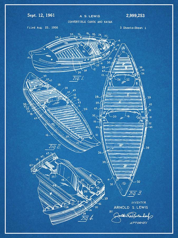 Canoe 1960 Patent Poster Canoe Print Kayak Print Patent Print Art Outdoor Sports Print Canoe Patent Blueprint Gift for Canoe Lover