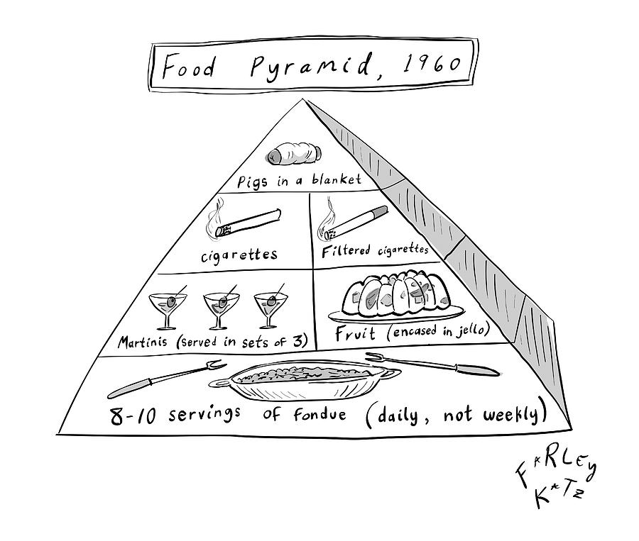 1960s Food Pyramid Drawing by Farley Katz