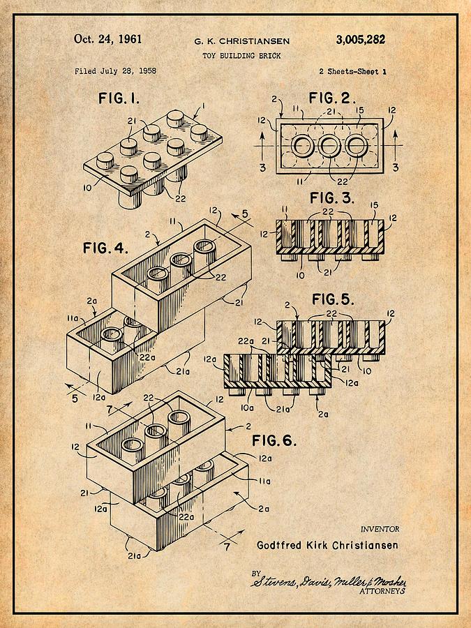 Lego Toy Building Block Patent Print