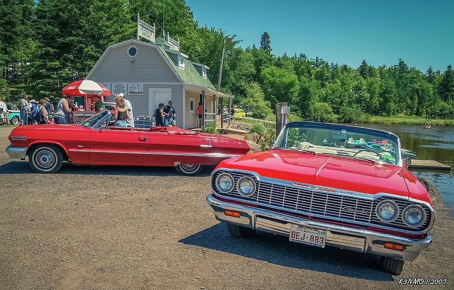 Antique Digital Art - 1964 And 1963 Chevrolet Impala Convertibles by Ken Morris