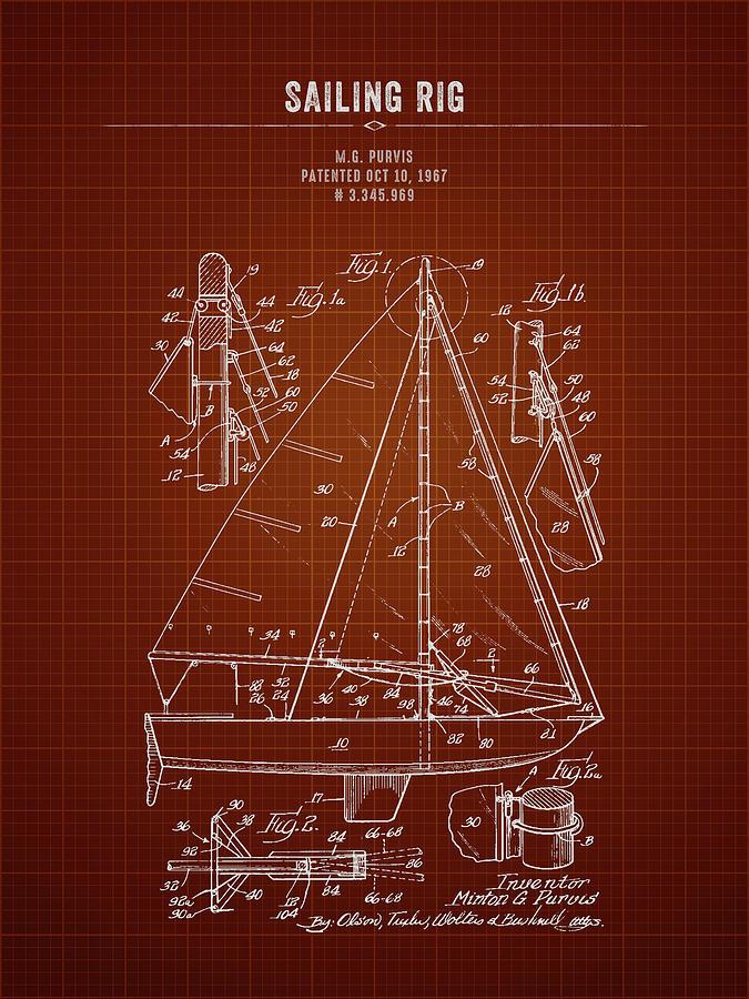 1967 Sailing Rig - Dark Red Blueprint Digital Art