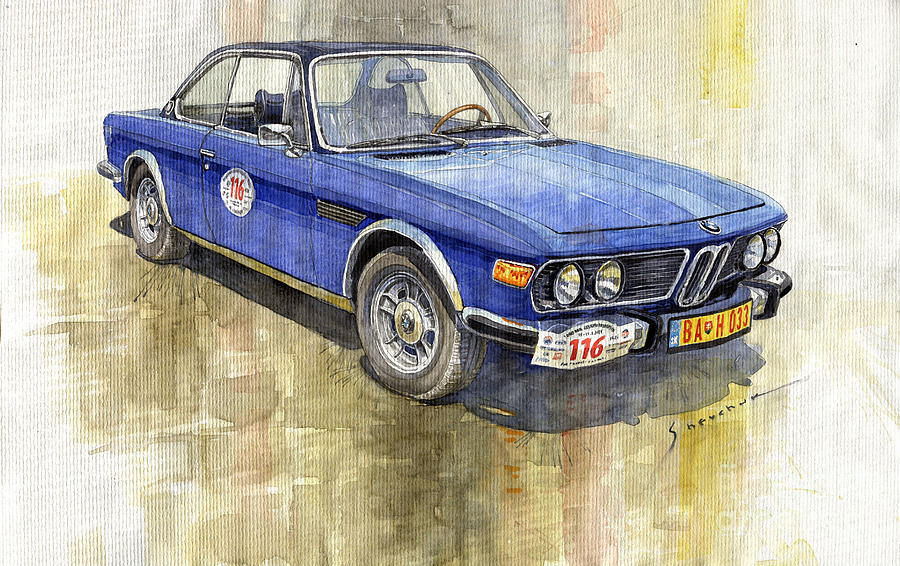 Watercolor Painting - 1972 Bmw 3.0 Csi Coupe  by Yuriy Shevchuk