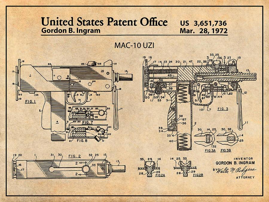1972 Ingram Mac-10 Uzi Antique Paper Patent Print by Greg Edwards