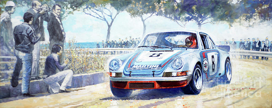 Automotive Painting - 1973 Targa Floria Porsche 911 Carrera RSR Martini Racing Lennep Muller winner  by Yuriy Shevchuk