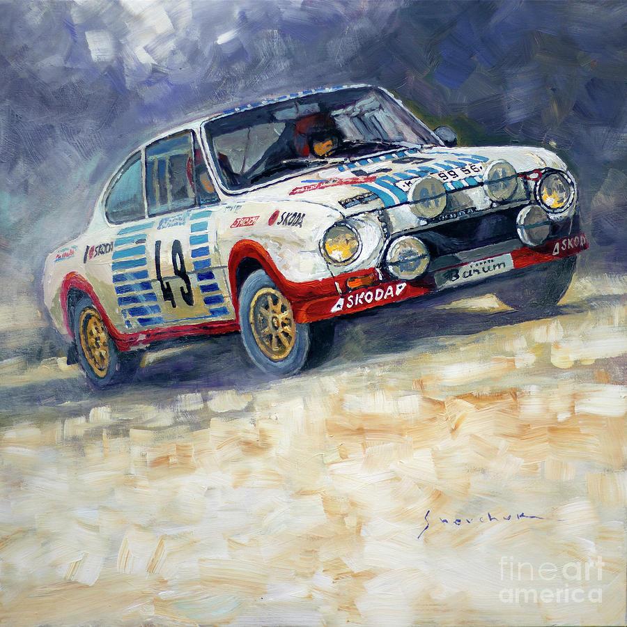 Painting Painting - 1977 Rallye Monte Carlo Skoda 130 Rs Blahna Hlavka Winner by Yuriy Shevchuk