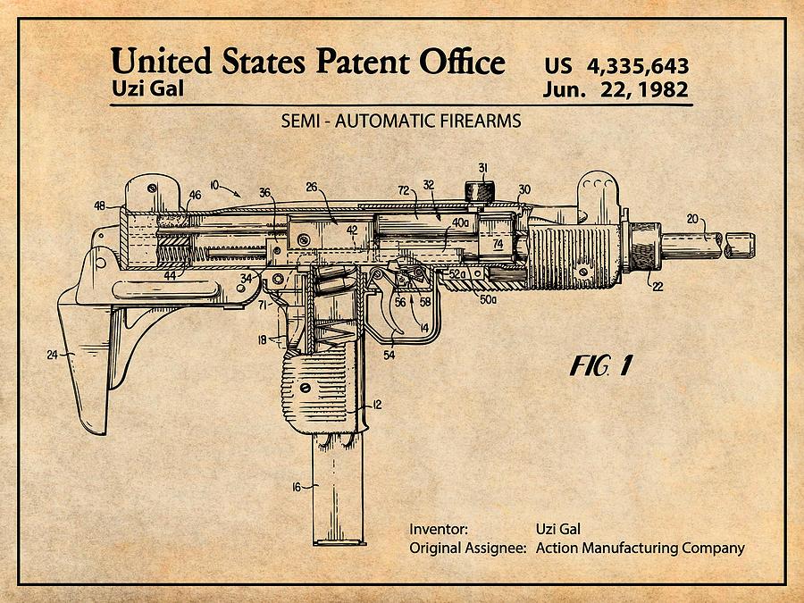 1982 uzi submachine gun antique paper patent print complete uzi parts kit uzi schematic #15
