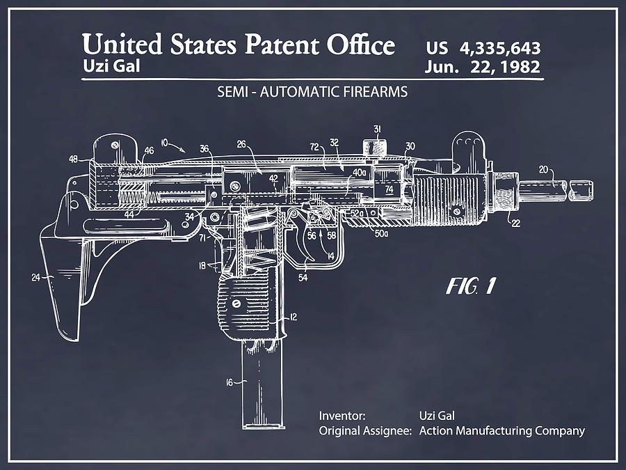 1982 uzi submachine gun blackboard patent print