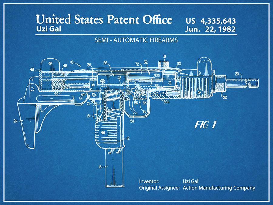 1982 uzi submachine gun blueprint patent print