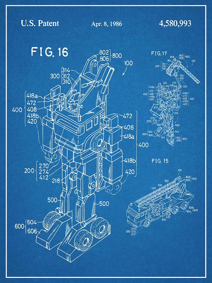 1985 Transformers Robot Fire Truck Patent Print Blueprint