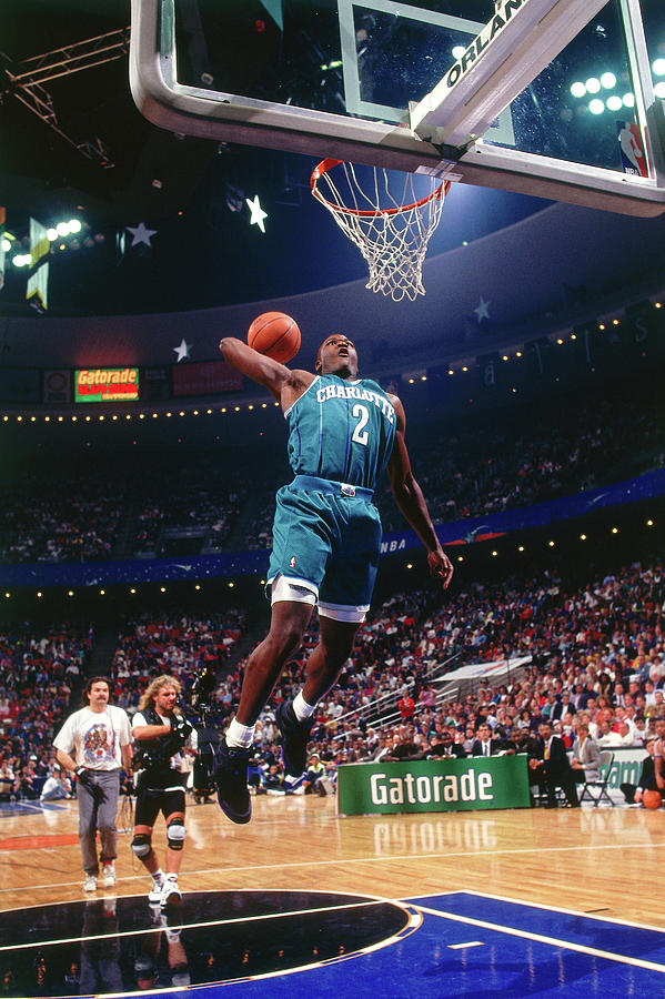 1992 Slam Dunk Contest Larry Johnson Photograph by Andrew D. Bernstein