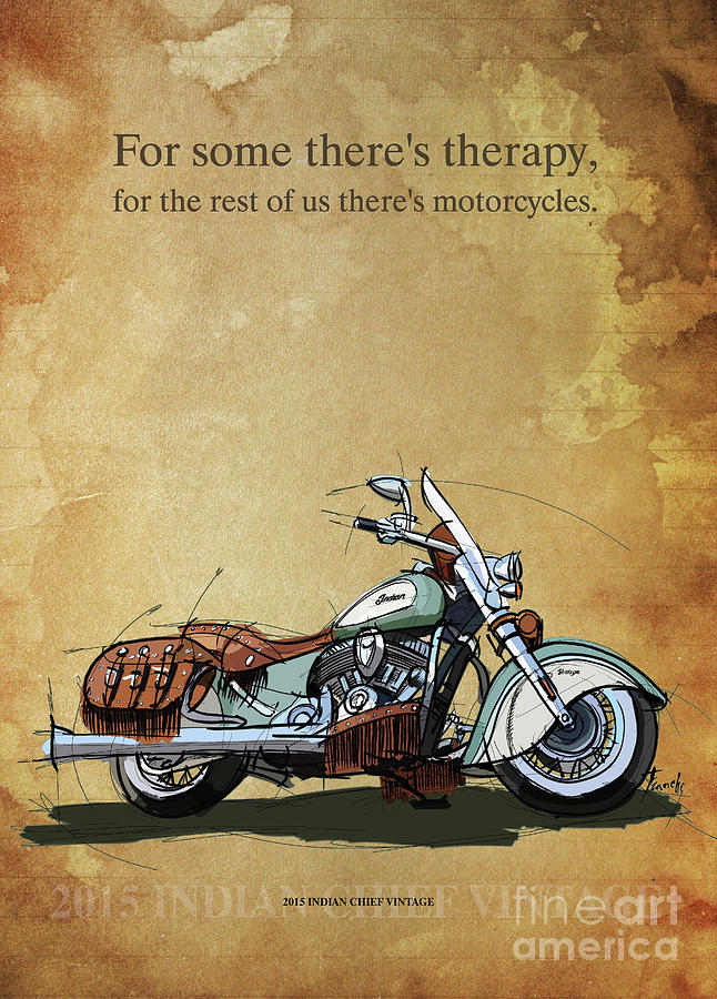 Blueprint Drawing - 2015 Indian Chief Vintage,original Artwork. Motorcycle Quote by Drawspots Illustrations
