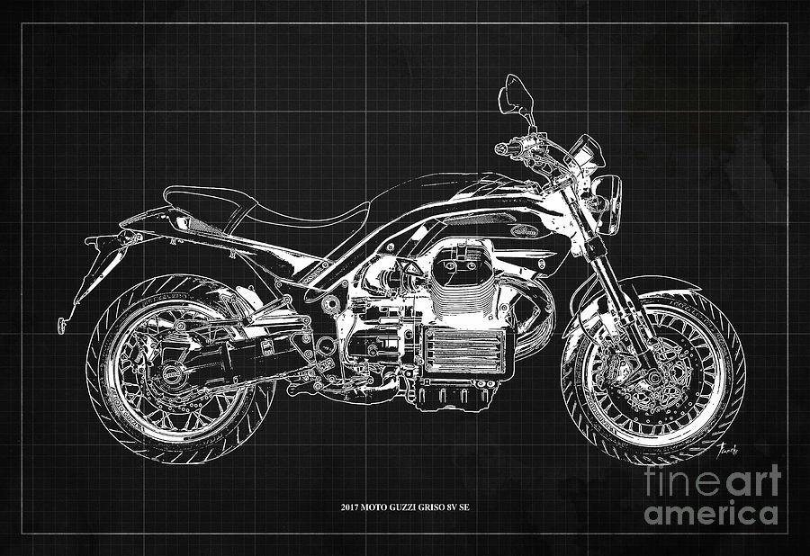 Vintage Drawing - 2017 Moto Guzzi Griso 8V SE Blueprint Original Artwork Gift for bikers Pub and Bar Decoration by Drawspots Illustrations