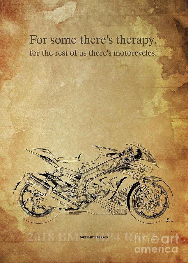 Vintage Drawing - 2018 Bmw Hp4 Race, Original Artwork. Motorcycle Quote by Drawspots Illustrations