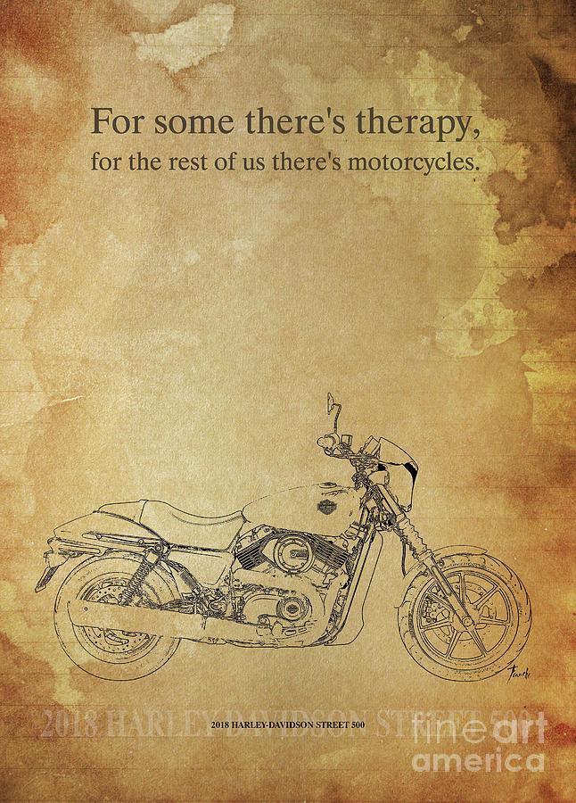 Vintage Drawing - 2018 Harley-davidson Street 500, Original Artwork. Motorcycle Quote by Drawspots Illustrations