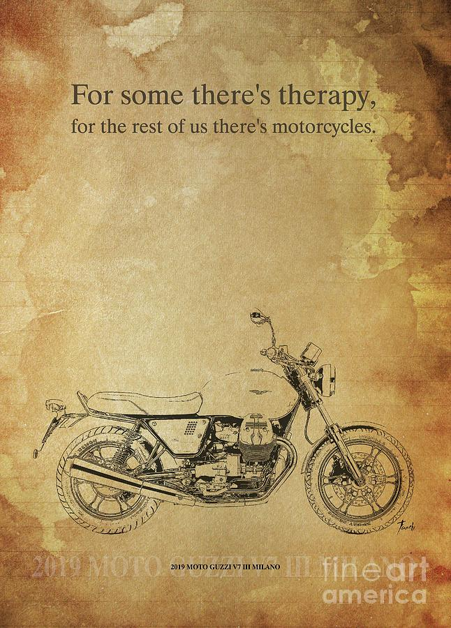 Vintage Drawing - 2019 Moto Guzzi V7 IIi Milano Original Artwork Motorcycle Quote  by Drawspots Illustrations