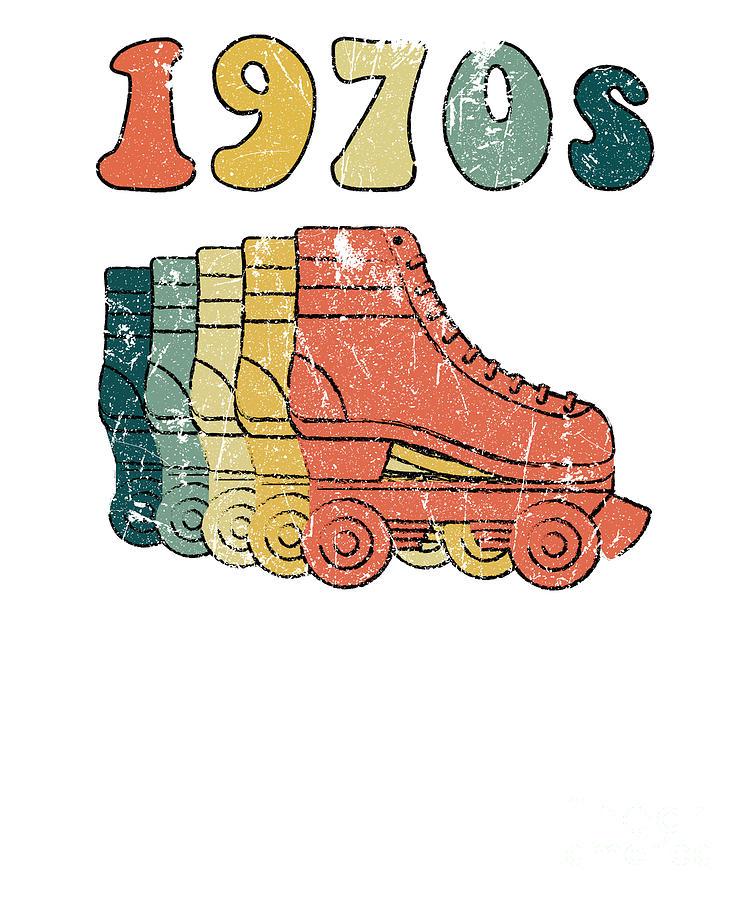 70s Roller Skates Derby Disco Retro Vintage Skating Digital Art By Phoxy Design