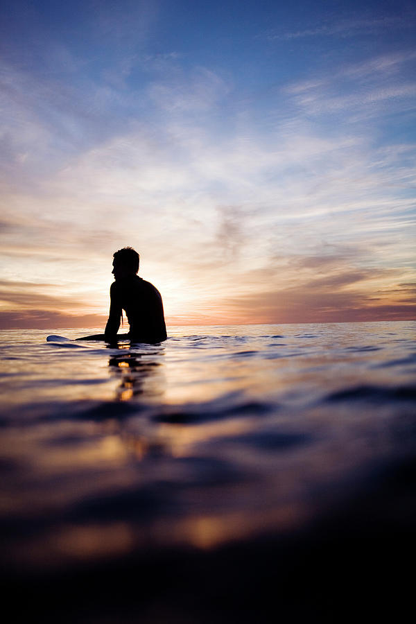 A Lone Surfer In The Sunset Photograph by Jay Reilly