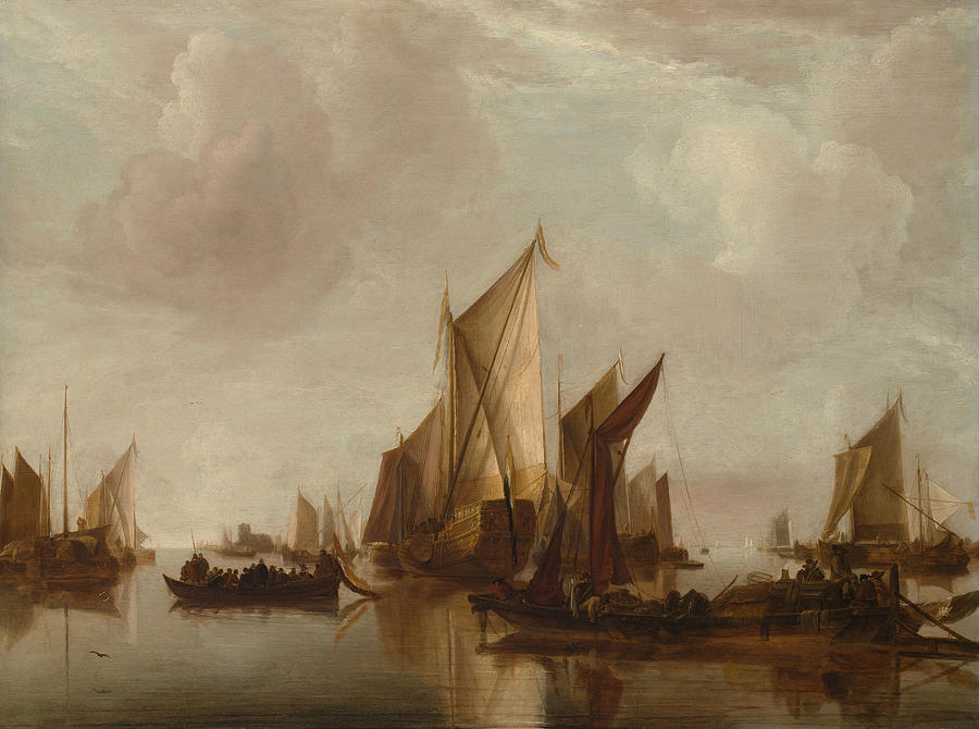 Dutch Painters Painting - A State Yacht And Other Craft In Calm Water by Jan van de Cappelle