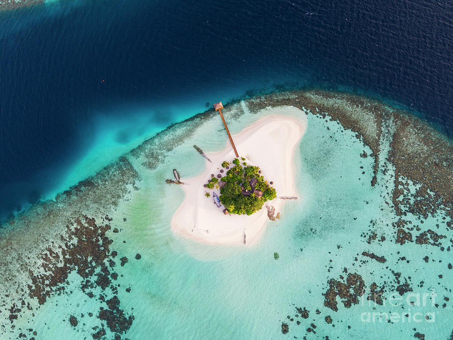 Aerial Photograph - Aerial Drone View Of A Tropical Island, Maldives by Matteo Colombo