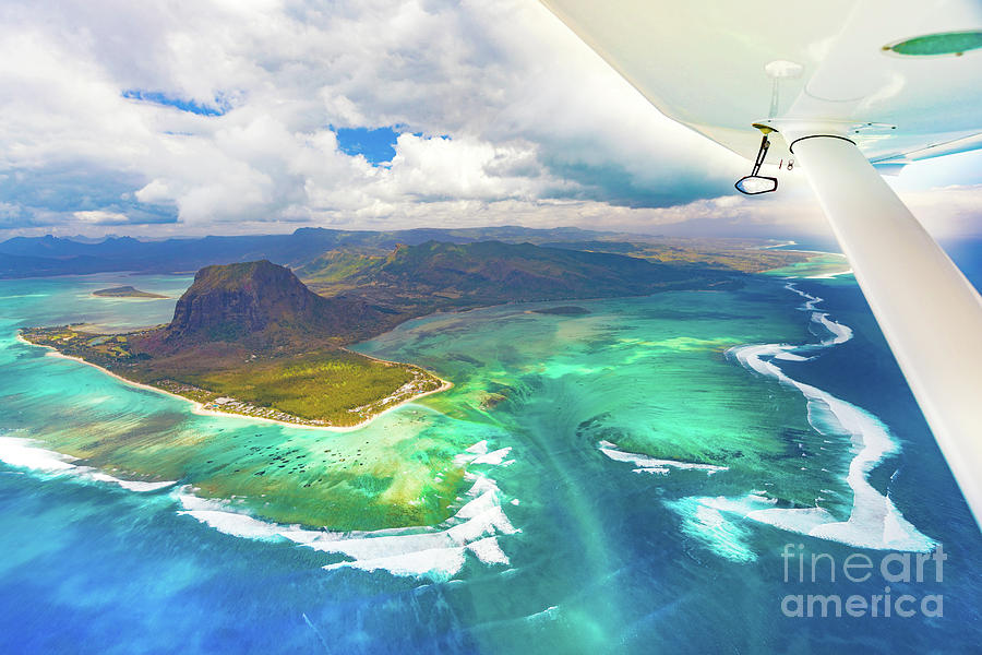 View Photograph - Aerial view of the underwater waterfall. Mauritius by MotHaiBaPhoto Prints