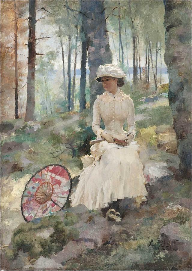 Albert EDELFELT, Under the Birches by Albert EDELFELT
