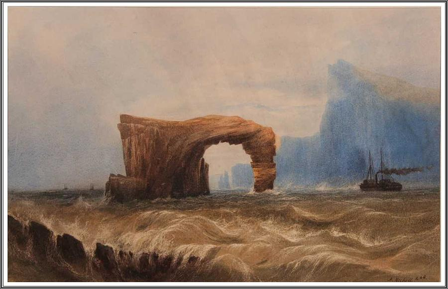 Sea Painting - Andrew Nicholl 1804-1886 Steamer Off Staffa. by Andrew Nicholl