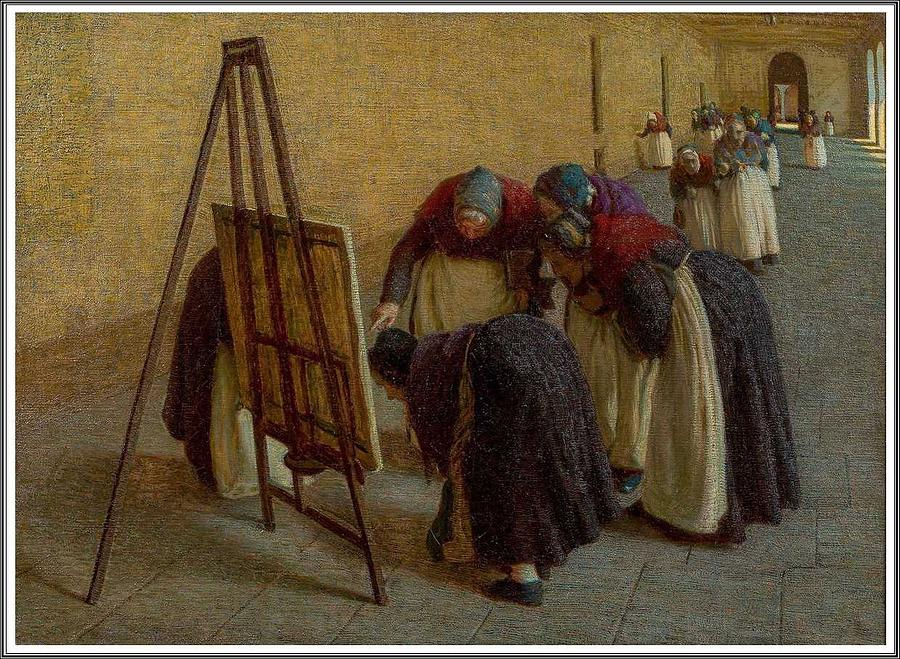 Man Painting - Angelo Morbelli 1853-1919, The Old Curious - 1891 by Angelo Morbelli