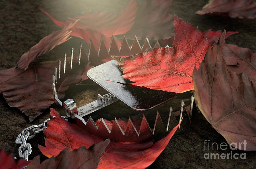 Animal Trap Digital Art - Animal Trap In Leaves by Allan Swart