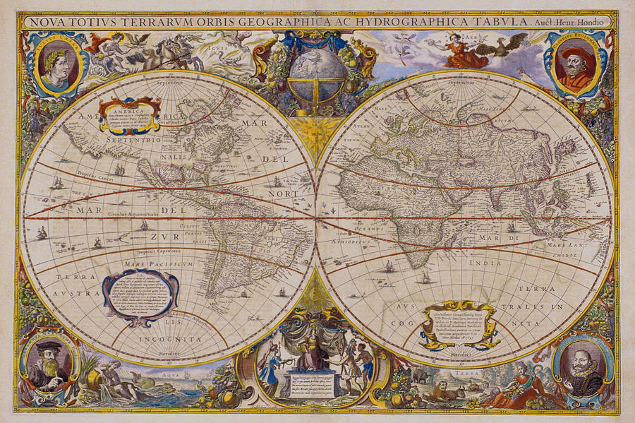 Antique Map Of The World Digital Art by Comstock