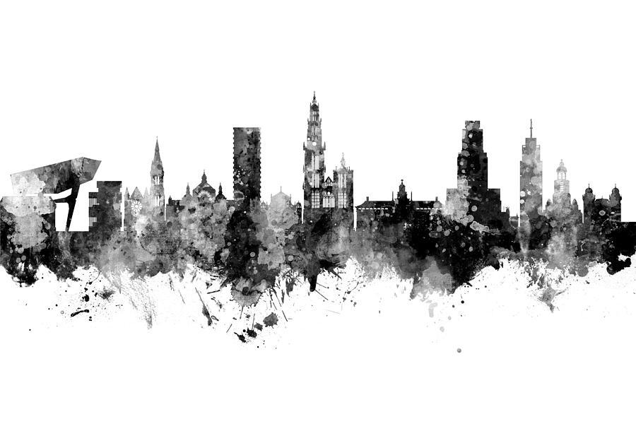 Antwerp Belgium Skyline by Michael Tompsett